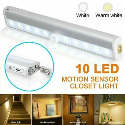 10 LED PIR Motion Sensor Closet Light Wireless Under Cabinet Drawer Night Light