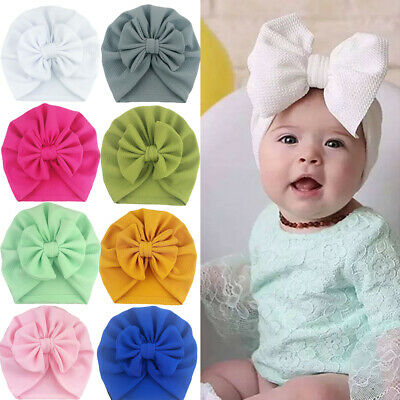 Cute Baby Girls Bow Turban Hat Toddler Kids Head Wrap Hijab Headband Cap