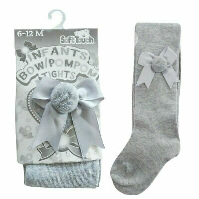 2 Pairs Baby girls Spanish style tights bow & pom pom grey 3-6 months BNWT