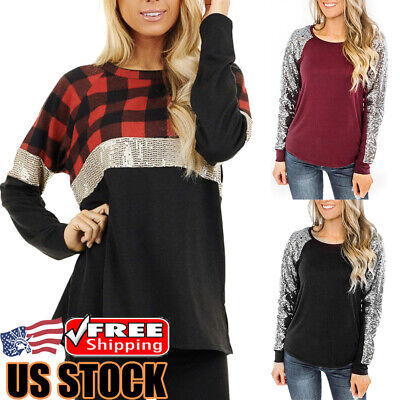 Women Long Sleeve Sequin Plaid Tops T-Shirt Ladies Casual Round Neck Blouse Tee