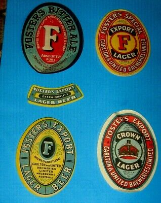 5 Old Australian Beer Labels Nice Lot 1950s Fosters