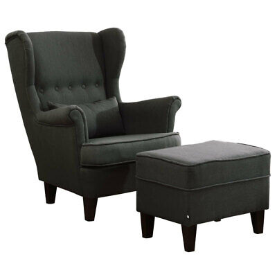 Queen Anne High Back Fireside Armchair Grey Cushioned Chairs Sofas with Footrest