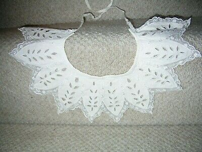 Antique Vintage Cream Cotton And Lace Collar