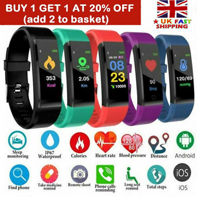Women Men Fitness Smart Watch Activity Tracker Heart Rate Fitbit Android iOS New