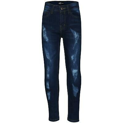 Boys Stretchy Jeans Kids Ripped Dark Blue Denim Skinny Pants Trousers 5-13 Years