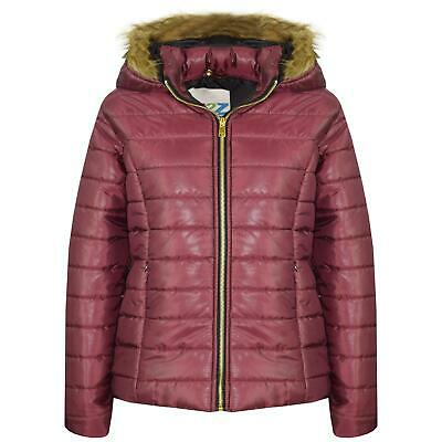 Kids Girls Jackets Wine Puffer Padded Quilted Detachable Hood Faux Fur Top Coats