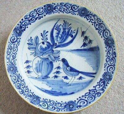 Collectable Antique English Delft blue and white BIRD plate-Charger,  18th cent