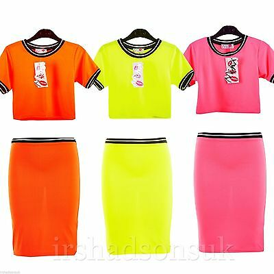 New Girls Neon Bright Colors Fashion Crop Top & Stylish Pencil Skirt 7-13 Years