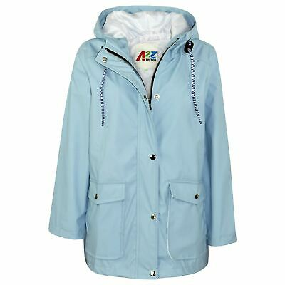 Kids Girls Boys PU Raincoat Jacket Dusty Blue Hooded Waterproof Rain Mac Cagoule