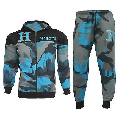 Kids Boys Tracksuit HNL Blue Camouflage Hoodie Bottom Jogger Jogging Suit 7-13Y