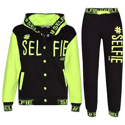 Kids Girls Tracksuit Designer #Selfie Embroidered Top & Bottom Jogging Suit 5-13