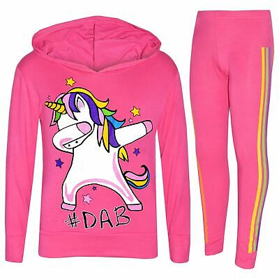 Kids Girls Unicorn Rainbow #Dab Floss Pink Top Legging Set Xmas Tracksuit 7-13Yr
