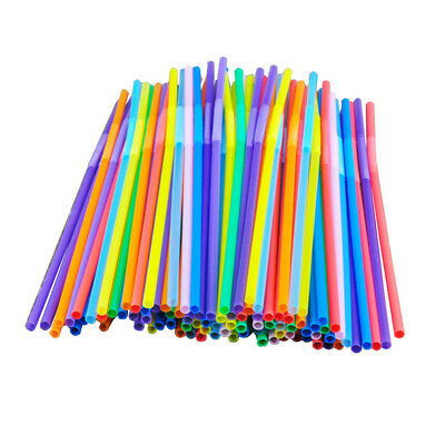 100 Pcs Colorful Plastic Flexible Cocktail Straws Celebration Party Drink Straws
