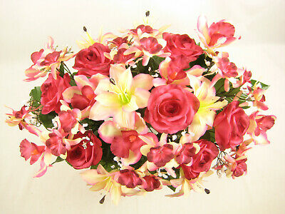 Artificial Flowers Rose Lily Aquilegia Orchid Large Wedding Table Centrepiece