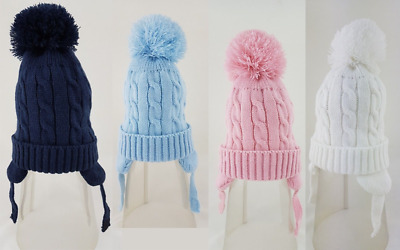 Wholesale job lot baby cable knitted pom pom hats 6-12 & 12-18 months x 10 BNWT