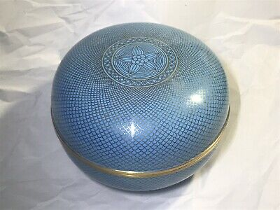 Estate Old Chinese Graduated Fish Scale Powder Blue Cloisonne Large Lidded Box
