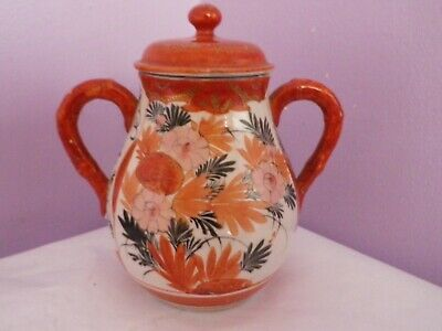 Fab Antique Japanese Kutani Porcelain Many Flowers Design Two Handled Lidded Pot