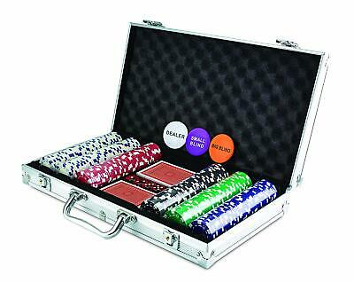 Poker Set 300 Chip Dice Style Complete Game In Aluminum Case (11.5 Gram Chips)