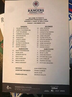 Rangers V Hearts Official Teamsheet 1/12/19