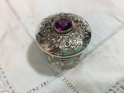 Antique Sterling Silver Amethyst Jewell Lid Glass Trinket Pot Theodore W.bailey
