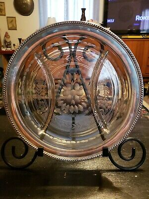 """Antique Watson Company Sterling Silver & Etched Glass Divided Serving Plate 10"""""""