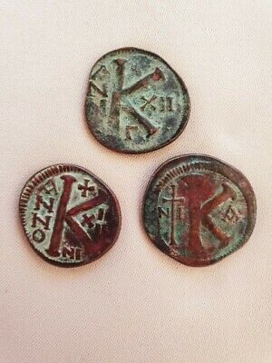 Lot of 3 BYZANTINE COINS, Justin II & Sophia  (AD 565/578)