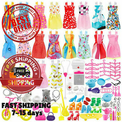 135 Pcs Barbie Doll Clothes Party Gown Outfits Shoes Bags Necklace Toy