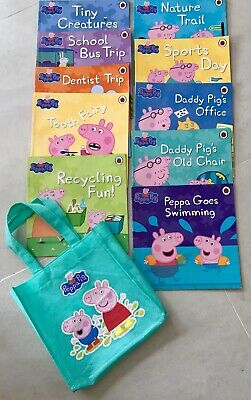 10 Peppa Pig Story Books Ladybird Children Non Fiction + Carry Bag Educational