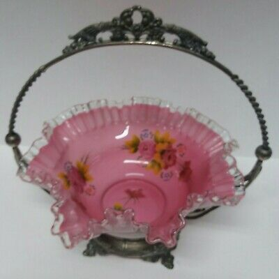 Antique Victorian Bride Basket Ruffled Glass Bowl Hand Painted Flowers