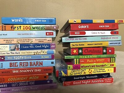 Lot 24 Board Books Story Time Baby Toddler Preschool Daycare Holiday Clean