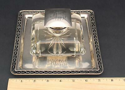 Lrg Antique Bailey Banks & Biddle Co Sterling Silver Tray Crystal Glass Inkwell