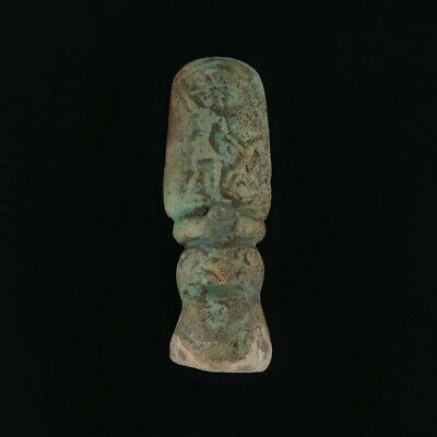 Ancient Egyptian Carved Stone Crowned Horus Narmar Enemy Bird Statue Faience