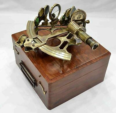 Brass Antique SEXTANT Collectible Handmade Vintage Marine With Brown Wooden Box
