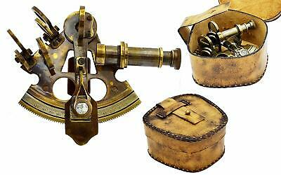 Brass SEXTANT 4 Inch With Leather Box Handmade Antique Collectible Nautical Gift