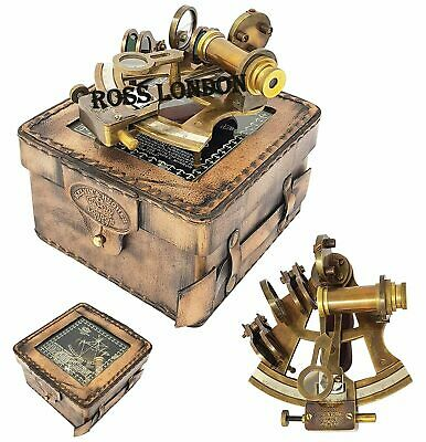 "Brass kelvin & Hughes London 1917 SEXTANT 4"" W/LEATHER Box Antique Handmade Gift"