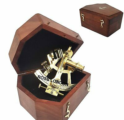 Collectible SEXTANT 4 Inch Brass With Wooden Box Marine Handmade Nautical Gift