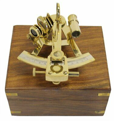 """4"""" Working Maritime SEXTANT Antique Nautical Brass Marine With Wooden Box Decor"""