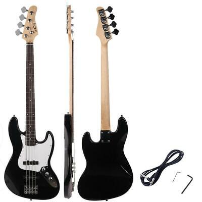 New Black Glarry Electric Jazz 4 Strings Bass Guitar + Cord + Wrench