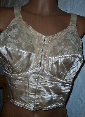 RAR Vintage Antinea Satin Spitzen Long BH Gr. 95 chair Pin Up Bra     (O39)