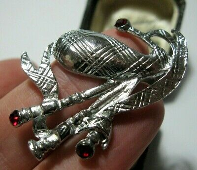 Signed Miracle Red Crystal Scottish Bagpipe Brooch Scottish Jewellery NEW Gift