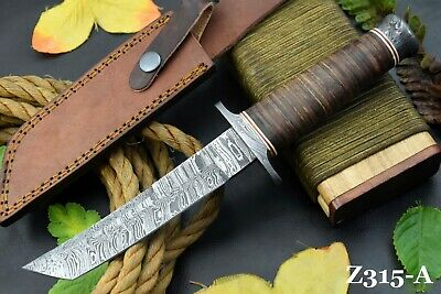 Custom Damascus Steel Tanto Hunting Knife Handmade With Leather Handle (Z315-A)