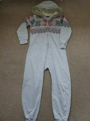 Girls One Piece Grey Hooded Pyjama Age 12 Years From Next With Faux Fur Trim