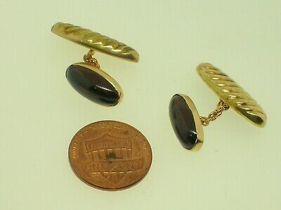 Tiffany & Co. Mid Century 14K Gold Cufflinks With Small Sapphires - Large Heads