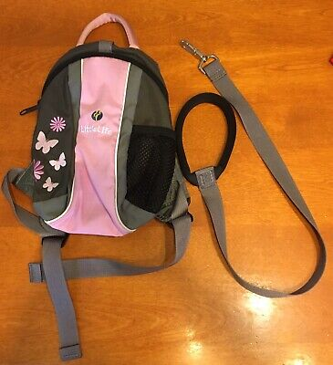 little life backpack Harness And Cord Used Pink Butterflies.