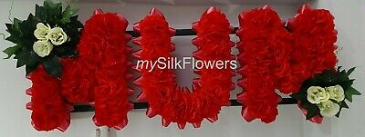 MUM Artificial Silk Funeral Tribute Any 3 Letter Name Flower Wreath NAN SON SIS