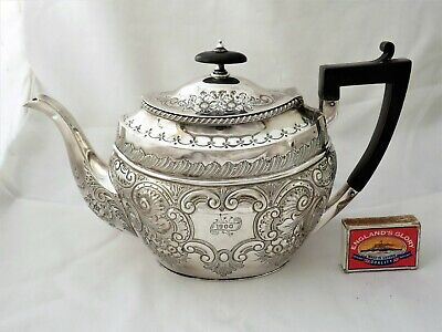 Fine Large Ornate Victorian Silver Plated Tea Pot - Dated 1900