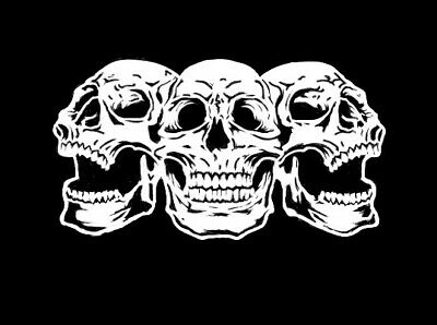 high detail airbrush stencil three laughing skulls FREE UK  POSTAGE