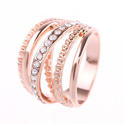 Jewelry Wedding Rose Gold Plated Cubic Zirconia Multi Layer Finger Band Rings