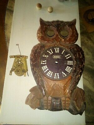 Vintage Occupied Japan Owl Cuckoo Clock case and movement parts or repair
