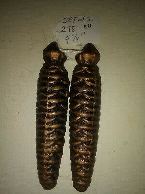 "SET OF 2 vintage Cuckoo Clock Pine Cone Weights 275 -  4 3/4"".        (#111)"